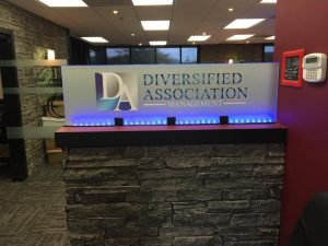 lighted indoor lobby sign